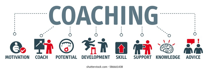 Banner coaching concept. Keywords and pictogram