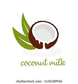 banner with coconut and coconut milk, leaves and text, wallpaper with nuts, floral background with tasty and healthy food