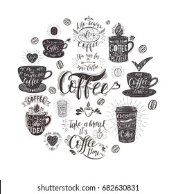 Banner with Coffee quotes . Vector hand-drawn lettering . Decoration for restaurant and bar.