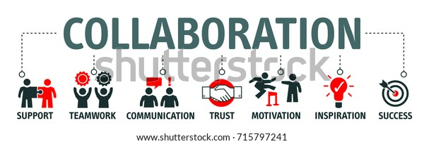 Banner collaboration and teamwork with icons