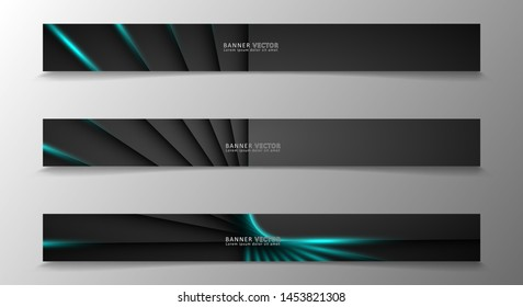 Banner collection, vector background with glowing neon blue stripes in a dark room.