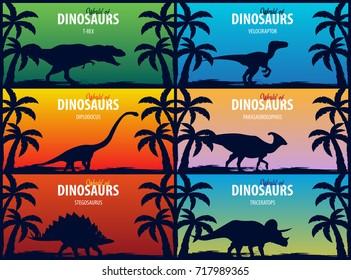 Banner collection World of dinosaurs. Prehistoric world. T-rex, Diplodocus, Velociraptor, Parasaurolophus, Stegosaurus, Triceratops. Cretaceous period. Jurassic period