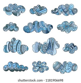 Banner with colored patterned clouds. Set of vector doodle clouds. Hand-drawn design elements.