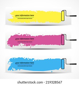 banner, colored vector brush strokes on a white background