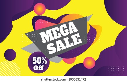 banner colorful background wallpaper illustration cheerful mega sale discount