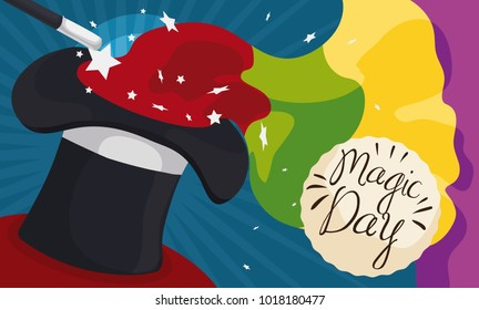 Banner with colorful magic trick: infinite fabric getting out of a top hat, confetti, a magic wand and a greeting label to celebrate Magic Day.