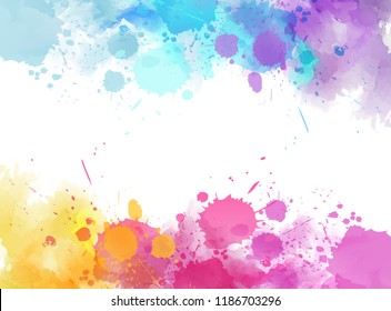 Banner with colorful watercolor imitation splash blots frame. Template for your designs.
