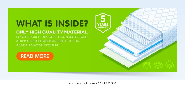 Banner with comfortable orthopedic mattress from fine quality modern materials, Layered structure orthopedic mattress, Ultra-thin and breathable diaper. Vector eps10.