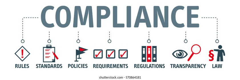 Banner compliance concept. Keywords and pictogram