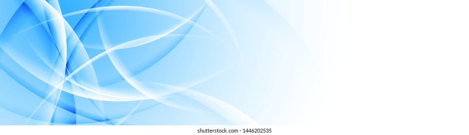 Banner composition of blue and white glossy wavy shapes. Abstract web header with smooth blurred curved waves. Colorful vector background