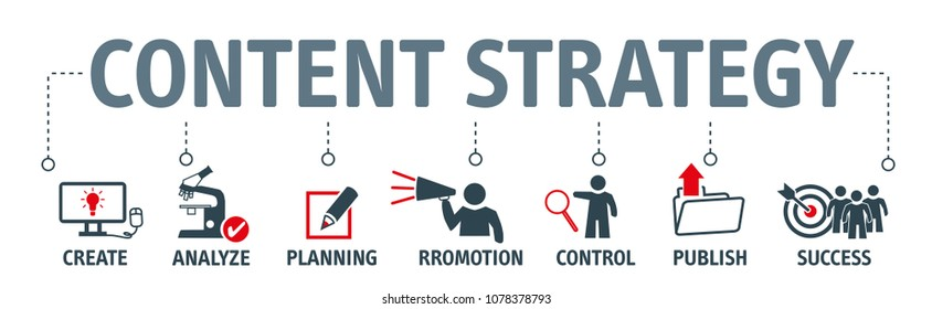 Banner content strategy vector illustration concept with keywords and icons