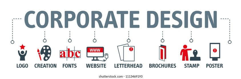 Banner of corporate design and corporate identity concept vector illustration