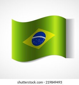 Banner of the country in waveform fluttering in the wind. Independence Day News Flat Volumetric Image Language National Logos Stock Vector Illustration Icon Picture. Flag of Brazil