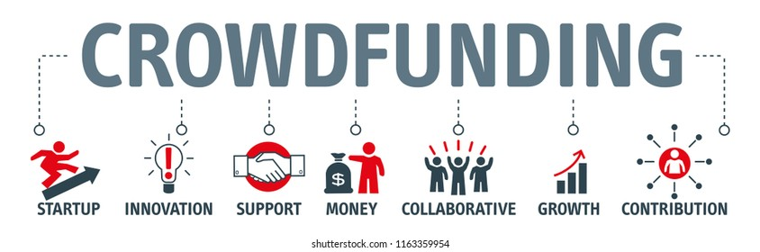 Banner Crowdfunding vector illustartion with icons Concept of sharing and donating money.