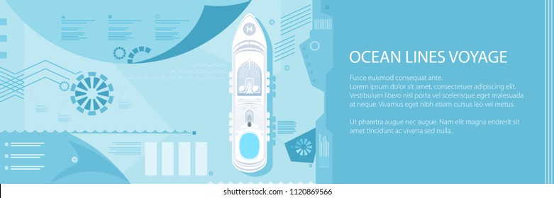 Banner with Cruise Ship at Sea, Passenger Transportation, Tourism and Travel Infographic Concept, Vector Illustration