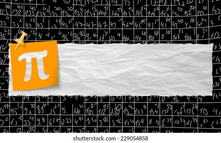 banner with crumpled paper and pi symbol