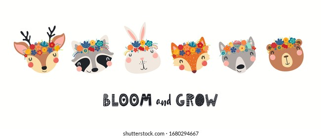 Banner with cute animals in flower crowns, quote Bloom and Grow. Hand drawn vector illustration. Isolated objects on white. Scandinavian style flat design. Concept for children spring, summer print.