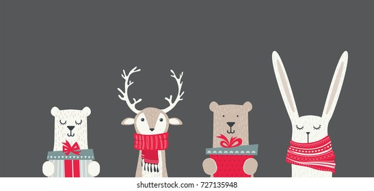 banner with cute winter animals with presents and scarfs. merry christmas and happy new year