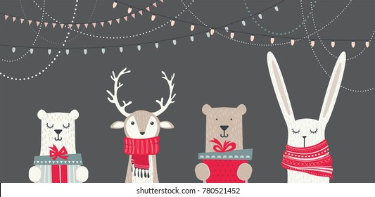 banner with cute winter animals with presents and scarfs. merry chritmas and happy new year. vector illustration