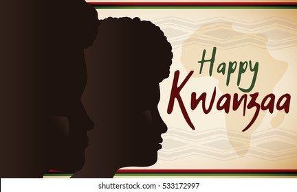 Banner with dark skinned man and woman faces together an Africa silhouette for Kwanzaa celebration with greeting message.