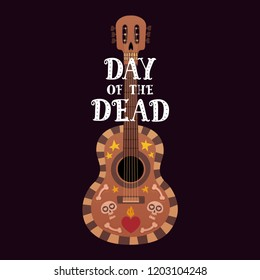 Banner for the Day Of Dead with guitar and Dia De Los Muertos text vector