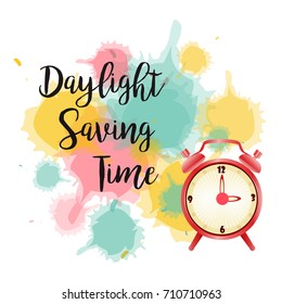 Banner for Daylight Saving Time with alarm clock