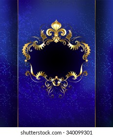 Banner decorated with luxurious golden ornament and gold Fleur de Lis on blue background.