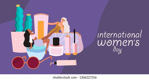 A banner dedicated to international women's day that can also be used for hair studio, beauty salon, cosmetic ads. Vector illustartion of different cosmetic products.