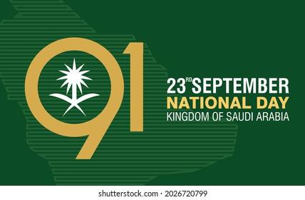 Banner design of 91 Year Saudi Arabia National Day. 23 September. Vector Illustration.