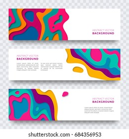 Banner design with abstract paper cut texture for brochure cover, leaflet, poster. Modern vector multi color layers template