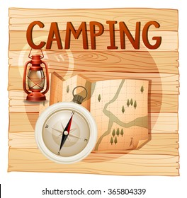 Banner design with camping theme illustration