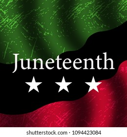 Banner design with colorful juneteenth holiday usa. Happy independence day. Juneteenth freedom day symbol. Pan-African flag vector illustration.
