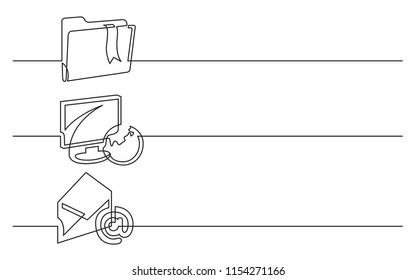 banner design - continuous line drawing of business icons: folder with bookmark, display, globe, email, letter