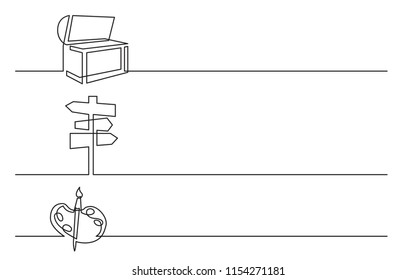 banner design - continuous line drawing of business icons: treasure chest, direction sign, artist palette