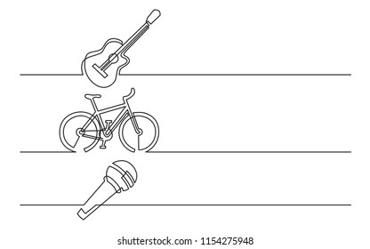 banner design - continuous line drawing of business icons: guitar, bike, microphone