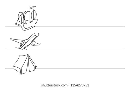 banner design - continuous line drawing of business icons: tall ship, passenger plane, tourist tent
