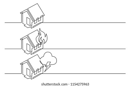 banner design - continuous line drawing of business icons: home symbol, fire, house damage