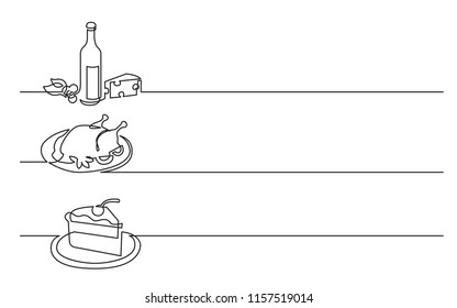 banner design - continuous line drawing of business icons: wine bottle with cheese, chicken meal, piece of cake