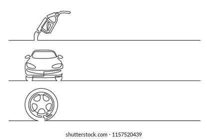 banner design - continuous line drawing of business icons: gas nozzle, car, wheel