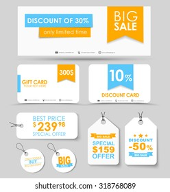 Banner design, discount and gift cards, tags on white background with ribbons. Vector illustration. Set of corporate style.
