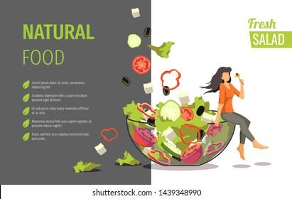 Banner design for fresh vegetable salad, online food ordering, recipes. Vector illustration can be used for poster, banner, menu, flyer, brochure.