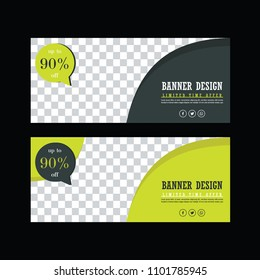 Banner Design. Green sale poster. Facebook cover. Sale tag. Discount ad