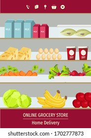 Banner design for Grocery store, Online Market, Home delivery, Shopping. Grocery shelves with fruits, vegetables, fish and milk products. A4 Vector illustration for poster, banner, commercial.