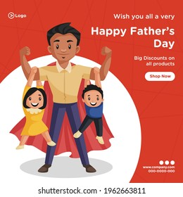 Banner design of happy father's day discount on all products cartoon style template. Vector graphic illustration.