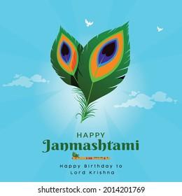 Banner design of happy Janmashtami Indian festival template.