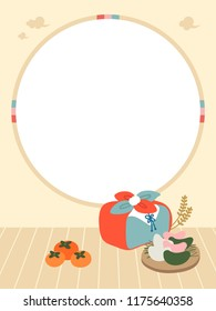 banner design illustration for Chuseok. korean traditional autumn festival