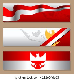 Banner design for Indonesia independence day. Place greeting text as you wish on blank space.
