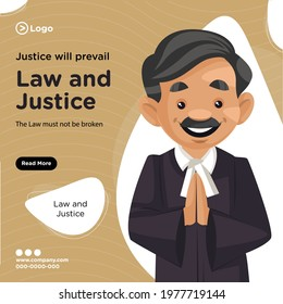 Banner design of justice will prevail cartoon style illustration.