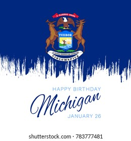 banner design layout with flag and text for anniversary of admission date of state michigan to union