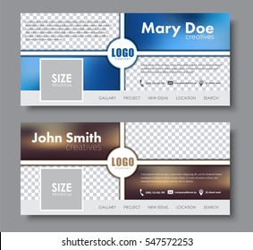 Banner design for the social network. The template is divided into blocks, with blurred background, place for images and logo. Vector illustration. Set